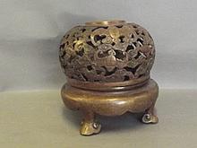 A Chinese pierced bronze censer with bat decoration, 8½'' high