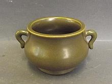 A Chinese censer with tea dust glaze, impressed mark to base, 3'' diameter