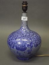 A porcelain table lamp with blue crystalline glaze, 13'' total
