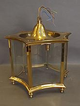 A brass hexagonal hall lantern with concave glass, 11½'' high