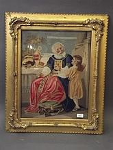 A C19th embroidery of an old man with child, in a good giltwood frame with