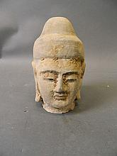 A Gandhara terracotta bust with painted decoration, 7'' high