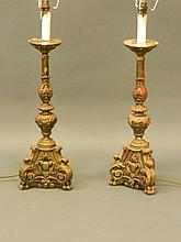 A pair of gilt composition torchère lamps, 22'' high, 27'' to top