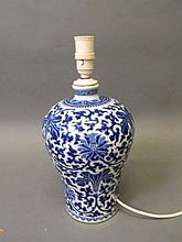 A C19th Chinese blue and white porcelain bulbous vase with scrolling lotus