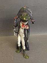 A cold painted bronze figure of a frog dressed as Napoleon Bonaparte, 7'' h