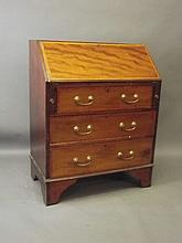 An Edwardian inlaid mahogany fall front bureau with fitted interior, 30'' x