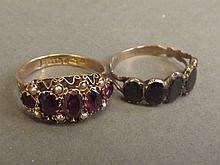 A 9ct gold lady's dress ring set with amethyst and seed pearls, and another
