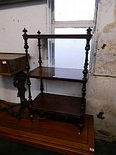 A Victorian burr walnut three tier whatnot with single drawer, the shelves