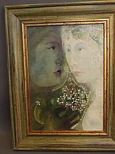 An oil on board, 'The Dream', girl in a veil, with monogram, 9½'' x 13½''