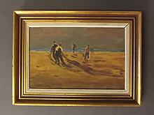 A mixed media painting, beach scene with fishermen tending their nets, sign