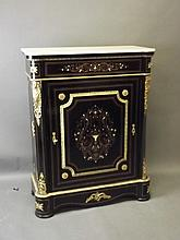 A Napoleon III ebonised pier cabinet with marble top, Mother of Pearl and b