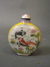 A Cantonese enamel snuff bottle with carp decoration, 4 character mark to base, 3
