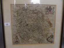 An antique Saxton map of Herefordshire, 12