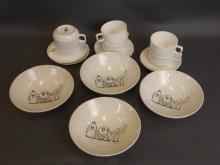 A set of four Kellogg's Co. advertising cereal bowls, c1984, and a set of six Royal Doulton coffee cups and six saucers, made for British Caledonian Airways