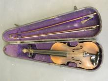 An antique violin, bears label 'Loublat-Gaillard, à Mirecourt', with a pine case by 'W.E. Hill & Sons', and two bows, violin 23
