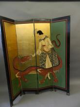 An Oriental four-fold lacquered screen decorated with a stylish lady feeding sugar cubes to a five-clawed dragon in bright colours on a green and gilt background, 64