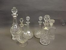 A Victorian engraved glass decanter and stopper, a