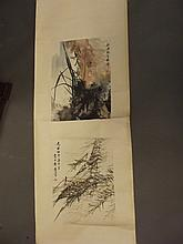 A Chinese painted scroll with two panels, signed