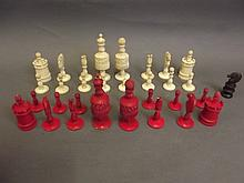 A large 19th Century carved and stained bone chess