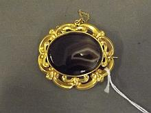 A large Victorian ornate pinchbeck and agate