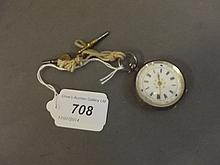 A 925 silver cased fob watch with a decorative