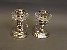 A pair of silver plated lustres with crystal