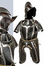 A black and white armor