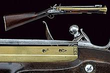 A flintlock blunderbuss with spring bayonet by Holborn