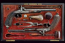 A pair of cased percussion pistols by Henri Jaquet