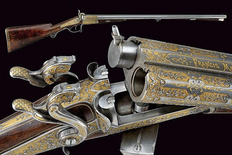 An outstanding double-barrelled pin-fire/percussion shotgun by Francis Marquis
