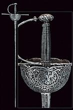 A beautiful cup-hilted sword