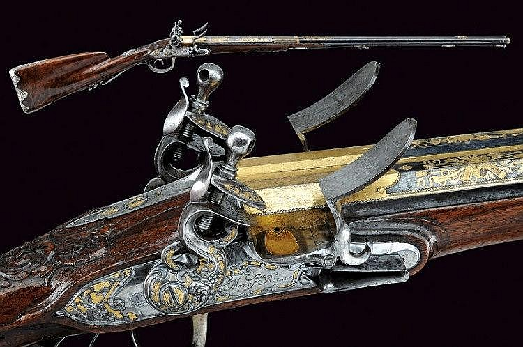 An outstanding double-barrelled flintlock shotgun