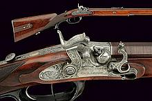 A fine percussion rifle by F. Morgenroth