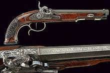 A beautiful silver mounted percussion pistol by F. Morgenroth