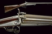 A double-barrelled pin-fire gun by Lefevre
