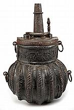 A fine Cuir-Bouilli powder-flask