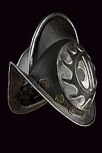 A black and white morion