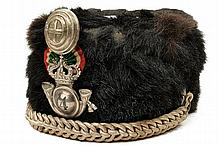 An officers fur hat of the light cavalry regt. 14