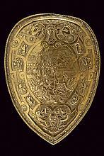 A shield depicting a battle scene