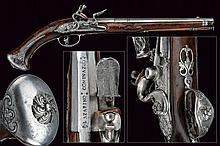 A flintlock pistol by Dio Mede Der.