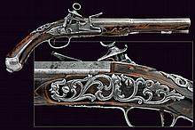 A beautiful flintlock pistol in Roman style