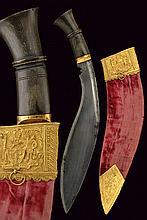 A gold mounted kukri
