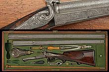 A cased luxury double-barrelled pin-fire shotgun with double barrels by Peterlongo