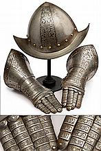 A morion and a pair of gauntlets