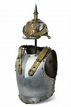 A cuirassier trooper's back and breast plate with helmet