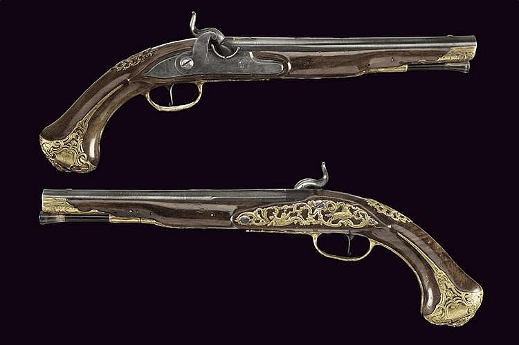 A pair of percussion pistols by Felix Meier
