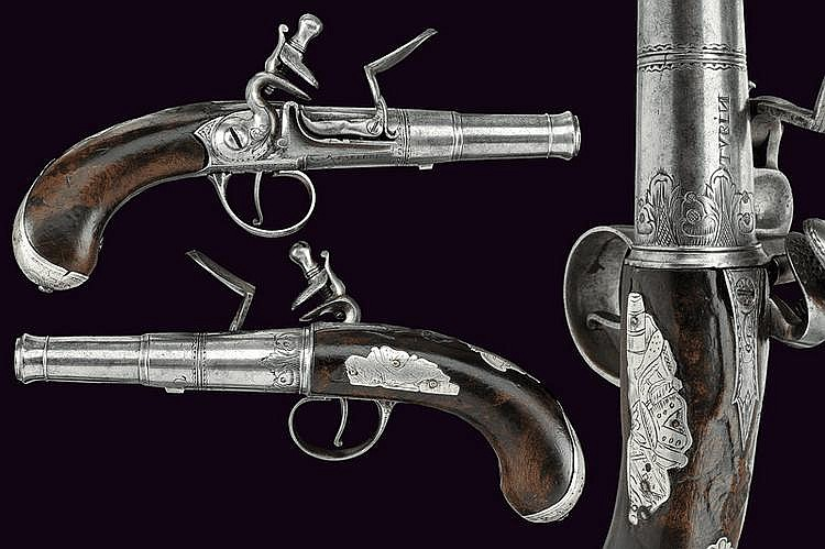 A pair of Queen Anne travelling pistols by Barberis