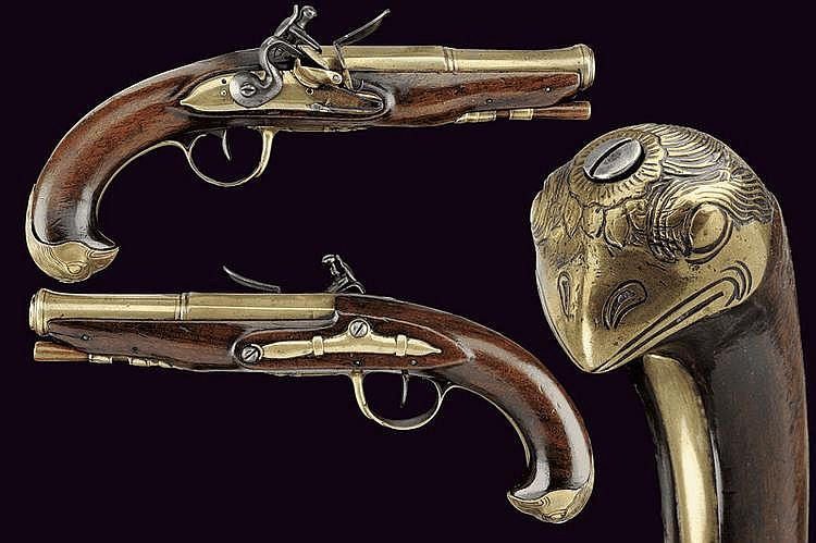 A navy officer's pair of flintlock pistols
