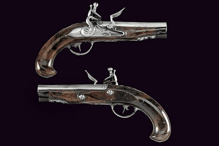 A pair of flintlock pistols by Frachetti Minelli