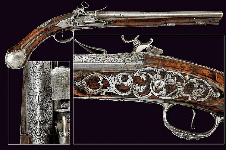 A flintlock pistol by Harvey of noble property